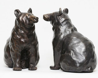 Full of Berries, black Bear cast bronze sculpture by Canadian Artist Kindrie Grove