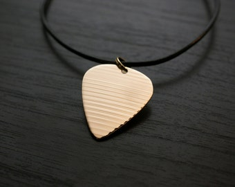 Recycled Drum Cymbal - Guitar Pick Necklace