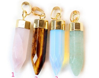 Natural crystal quartz point pendant,natural gemstone point pendant ,healing stone ,rose quartz,jade,opal,tigereye pendants