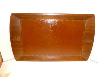 Vintage Camfield Teak Wood and Leather Serving Tray