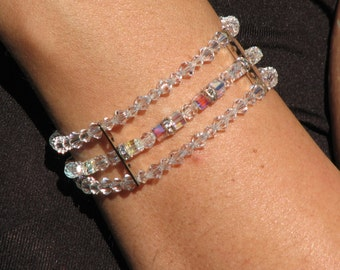 Handmade Swarovski Bracelet, Clear, AB, Coated Wire String, Clasp, Cube, Round, Rondelle