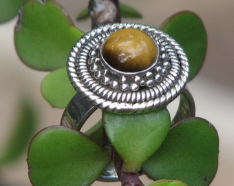 Tiger Eye Sterling Silver Ring, Round, Size S or 9 2/3, Jewellery, Ring, Stone, TigerEye