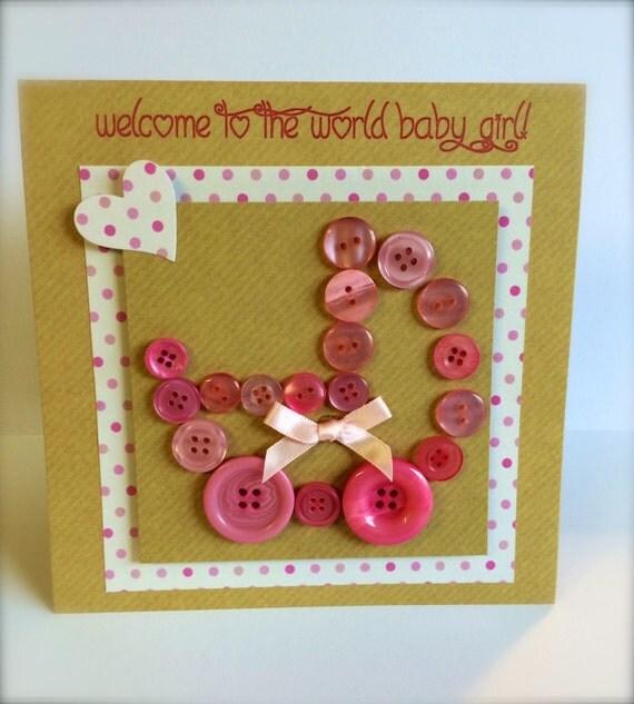 handmade Button Pram New Baby Card Girl