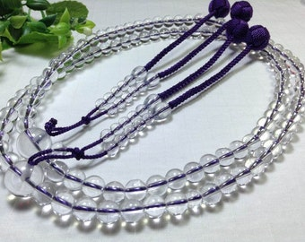 Juzu beads with clear crystal,Size X Large,budista traditional malas craft, tassels in purple woven balls