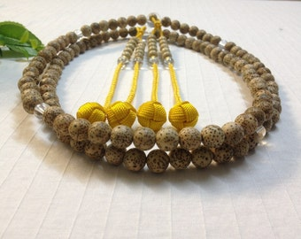 Juzu buddhist nenju,Bo-tree seeds, X Large, with yellow gold hand-made woven balls