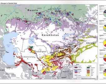 24x36 Poster; Cia Map Of Ethnic Groups In Central Asia 1993