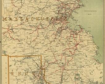 24x36 Poster; Electric Rail Map Massachusetts Rhode Island 1898