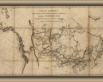24x36 Poster; Map Alexander Mackenzie Route North America 1801