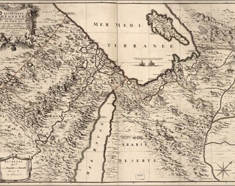 24x36 Poster; Map Of Middle East Egypt Israel 1693