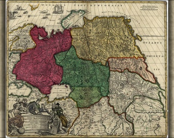 24x36 Poster; Map Of Western Russia 1704