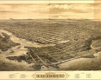 24x36 Poster; Bird'S-Eye View Map Of Victoria, Vancouver Island, B.C. 1878