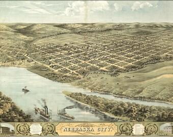 24x36 Poster; Birdseye View Map Of Nebraska City, Nebraska 1868
