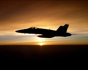 24x36 Poster; Fa-18C Hornet, At Sunset