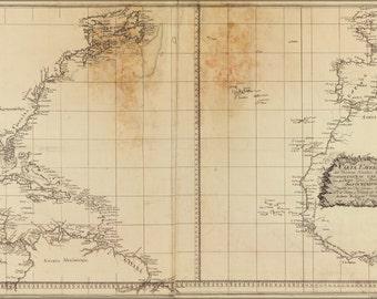 24x36 Poster; Map Of Atlantic Ocean 1800