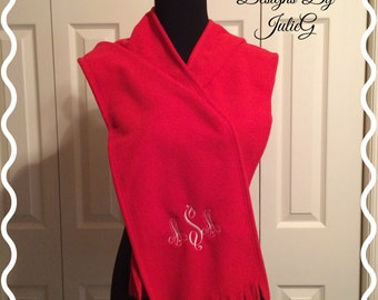 Red Colored Scarf with Monogram