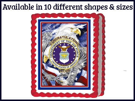 US Air Force Logo Edible Birthday Party Cake or cupcake