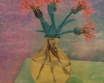 Floral Wall Art, Centaurea Pink, Original Photo Transfer, Size 8.5 square