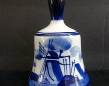 """Delft Delfts Blue Hand-painted Bell-  Holland Netherlands Dutch-  3"""" tall 2"""" diameter - Vintage - Perfect condition."""