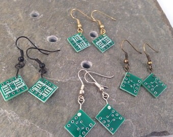 CUSTOM Color Circuit Board Earrings, Tiny, Black Gold Silver or Antique Bronze Tone, Upcycled Computer Part Recycled Reclaimed, Bridesmaid
