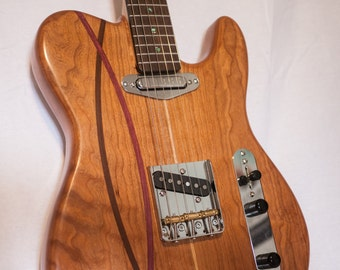 Single Cutaway Electric Guitar - Solid Cherry with stips of Ipe and Purpleheart