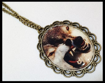 Necklace Pendant Wolfs Cameo Necklace