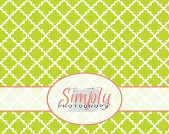 LIME GREEN QUATREFOIL vinyl Photography Backdrop