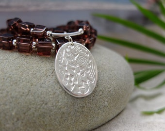 Fine silver PMC3 pendant with sterling silver and Czech glass beads