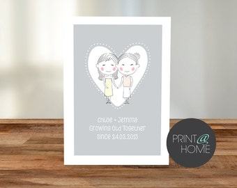 Personalised Lesbian 'Growing Old Since' A5 Card - Digital print at home file only