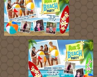 Teen Beach Movie Ocean Surfboard Birthday Party Invitations Printable Uprint Digital Printed Options * 7 Designs * READ DESCRIPTION*