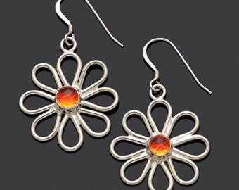 Orange Daisy Earring