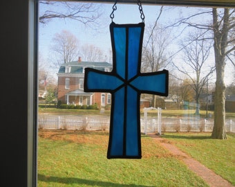 Cross-Dark blue stained glass suncatcher