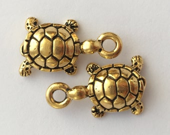2 Gold Turtle Charm, Pewter, package of 2