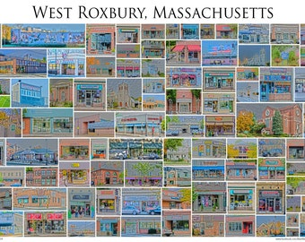 "West Roxbury, Massachusetts - A Framed 13x19"" Photographic Collage of West Roxbury Store Fronts and Landmarks"