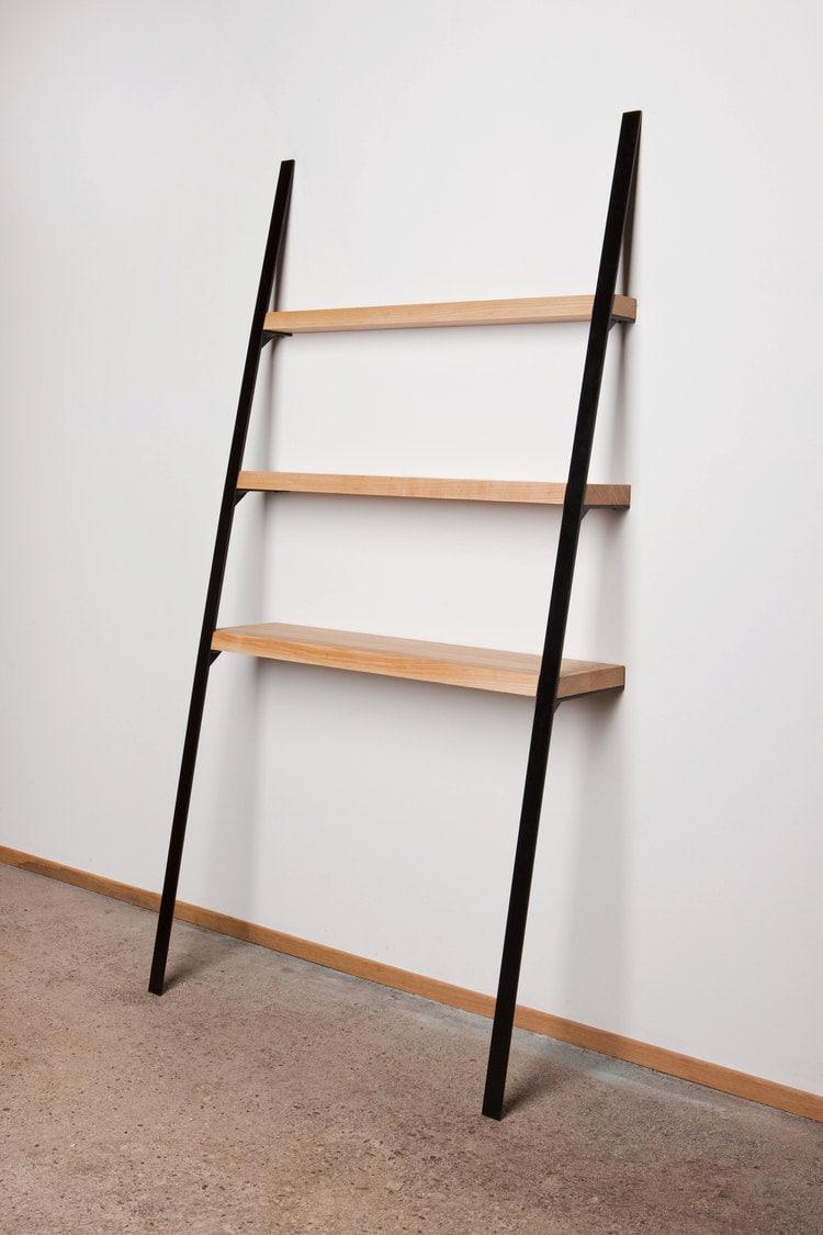 Leaning Shelf Modern Contemporary Bookcase Bookshelf Ash Wood