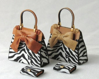Beautiful modern handbag, 1/12 scale, leather and animal print fabric with combined portfolios