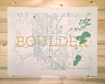 Boulder Streets Map Screenprint
