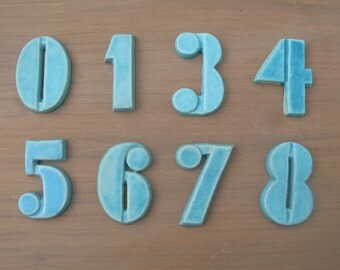 Modern House Numbers - Bloq Font- Turquoise