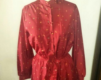 Vintage women's  long sleeved crimson red floral print dress sz L