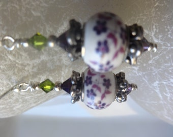 Floral Rondelle Dangle Earrings with Swarovski Crystals