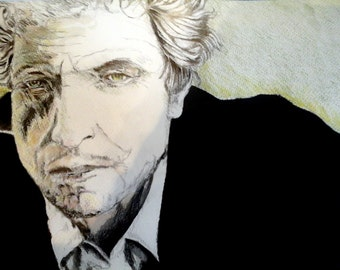 Bob Dylan pencil and ink drawing