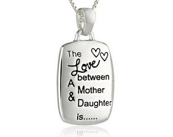 "Love Between Mother and Daughter Sterling Silver Chain Pendant Necklace 18"" Christmas Gift"
