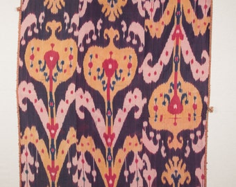 Antique Uzbek SILK IKAT Wall Hanging Late 19th c. id: 0181 FREE shipping with Ups