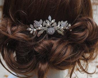 Grecian mini bridal comb - laurel leaf wedding comb - silver leaf comb - bridal hair comb - Swarovski crystal - vintage bride - Laurel comb