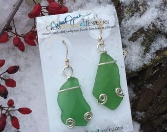 Silver-Wrapped Okinawa Ocean Glass Earrings
