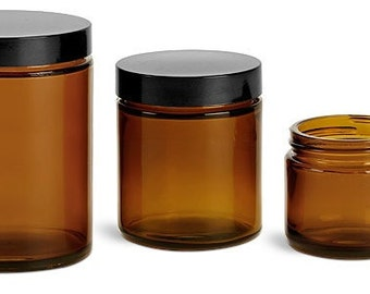 4 Amber GLASS Jars 4 oz 120 ml w/ Black Caps for Body Butter, Sugar Scrubs, Balms, Salves, Cosmetics