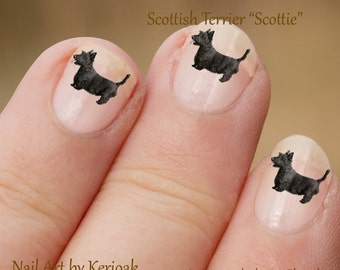 Scottish Terrier Nail Art, Dog Nail Art Stickers, Scottie Nail Stickers, Fingernail Stickers, small black terrier, Decals