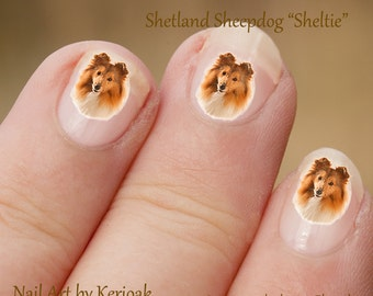 Shetland Sheepdog Nail Art,  Dog Nail Art Stickers, Sheltie Nail Stickers, Fingernail Stickers,, Decals