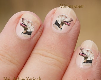 Weimaraner Nail Art, Dog Nail Art Stickers, Nail Stickers, Fingernail Stickers, gundog, portrait, weim, profile Decals Photographic Nail Art