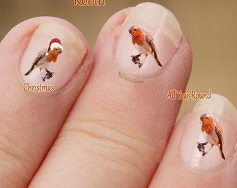 Robin Nail Art,  Bird Nail Art Stickers, fingernail stickers, Christmas Nail Art stickers, Robin Redbreast, Santa Hat, decals