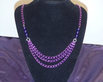 Purple and Pink Necklace and Earrings Set